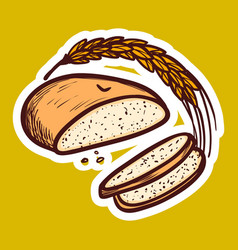 Wheat bread icon hand drawn style vector