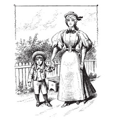 Woman and child vintage vector