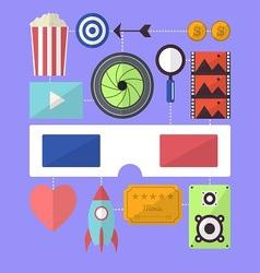 Cinema movie entertainment flat design object vector image