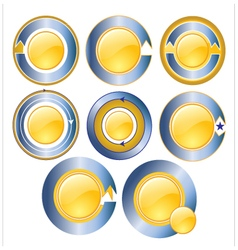 Gold circle banner blue vector image vector image