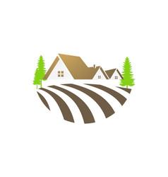 House villa nature landscape logo vector