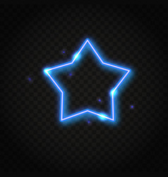 neon blue star frame with space for text vector image