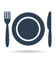 plate fork and knife on white background vector image