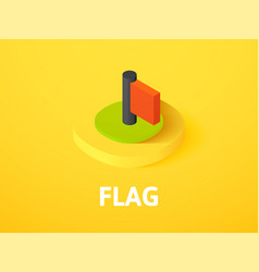 Flag isometric icon isolated on color background vector