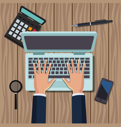 office work topview vector image vector image
