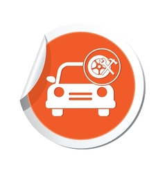 car with wheel and tools icon orange label vector image