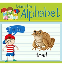Flashcard alphabet t is for toad vector
