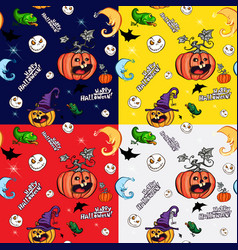 halloween symbols in the seamless pattern vector image