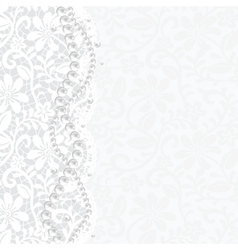 lace background and pearl necklace vector image vector image