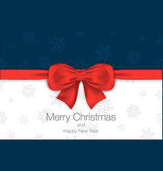 merry christmas and happy new year blue and white vector image vector image