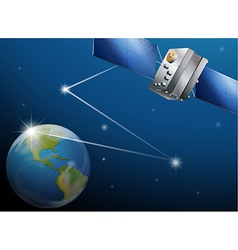 A satellite and the planet Earth vector image