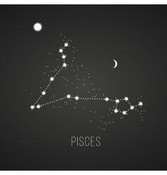 Astrology sign Pisces on chalkboard background vector image