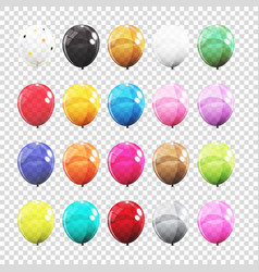 big set group of colour glossy helium balloons vector image vector image