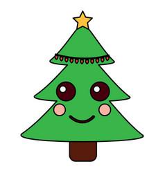 kawaii christmas tree cartoon happy vector image vector image