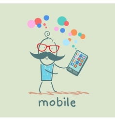 man holds the best mobile vector image vector image