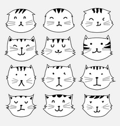set of cute cat sticker vector image vector image
