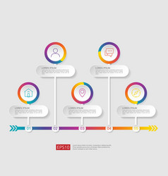 5 steps infographic timeline design template with vector