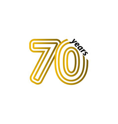 70 years anniversary celebration line gold vector