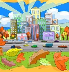 autumn city vector image