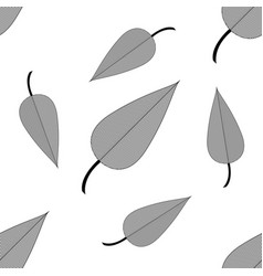 beautiful leaves line art isolated on white backgr vector image