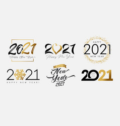 Big set 2021 happy new year gold and black logo vector
