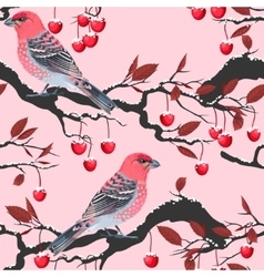 Birds and cherry tree seamless vector image vector image