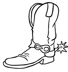 black and white cowboy boot vector image