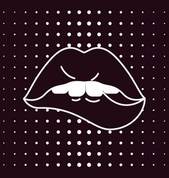 Black lips in pop art vector