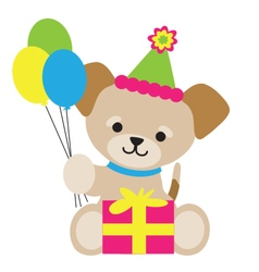 Brown Puppy Birthday vector