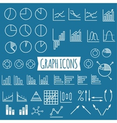 Business charts Set of thin line graph icons vector image