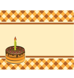 Cake with a candle on a plaid background vector image