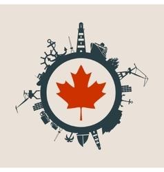 Cargo port relative silhouettes Canada flag vector image