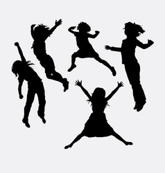 children happy action silhouette vector image