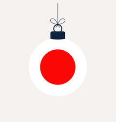 christmas ball with japan flag greeting card vector image
