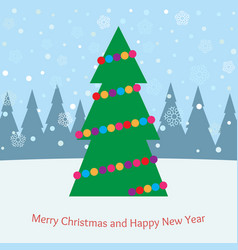christmas tree with toys in the forest vector image
