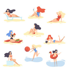 collection beautiful girls in swimsuits relaxing vector image