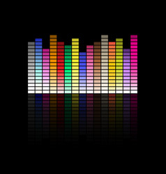colorful musical equalizer showing volume on black vector image