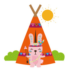 Colorful rabbit animal with arrows and camp design vector