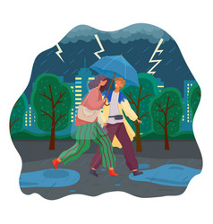 couple walking in rain with umbrella and vector image