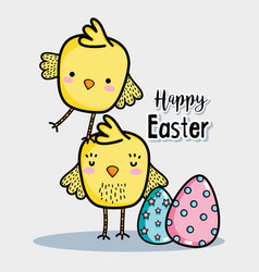 Cute chickens with easter eggs decoration vector