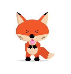 cute fox cartoon eat ice cream concept vector image