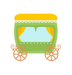 cute green princess fairytale carriage cartoon vector image