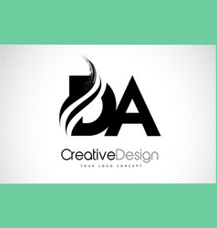 Da d a creative brush black letters design with vector