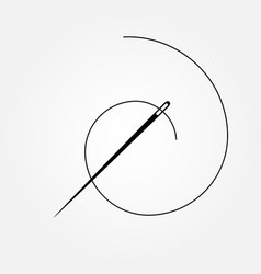 Dark gray needle and spiral thread symbol vector