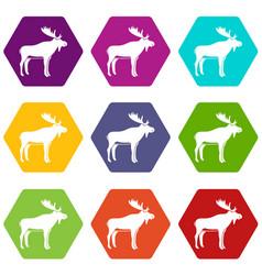 deer icon set color hexahedron vector image