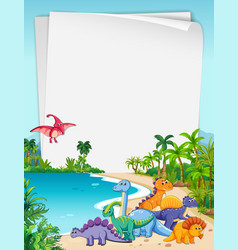 Dinosaur in nature paper theme vector