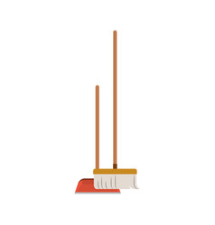 dustpan and broom in colorful silhouette vector image