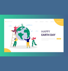 earth day man save green planet environment vector image