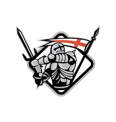 English Knight Fighting Sword England Flag Retro vector image