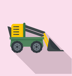 Farm excavator icon flat style vector